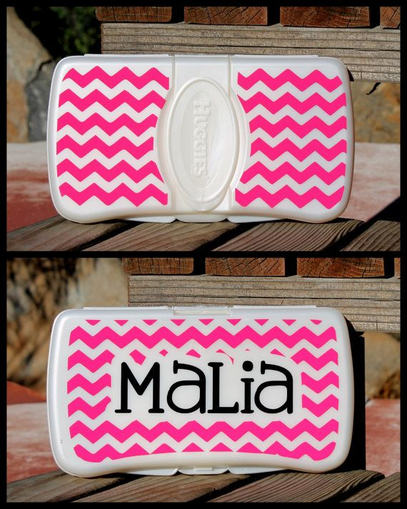 Custom Personalized Chevron Print Diaper Wipe Case Bag Baby Shower Gift On Etsy 7 00 Oh Pinterest Silhouette Cameo And