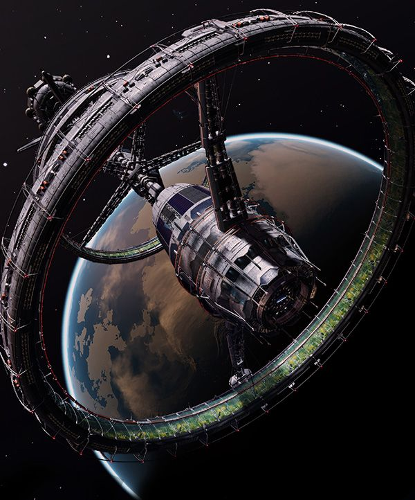 Airport City Game Space Base: Orbis Station From Elite:Dangerous Video Game