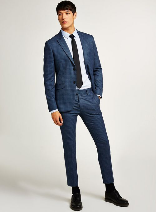 240024d942d4 Blue Mini Check Skinny Suit - Suits - Clothing - TOPMAN USA | Style ...