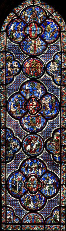Stained glass windows of the Cathedral of Chartres, France - a UNESCO World Heritage Site.
