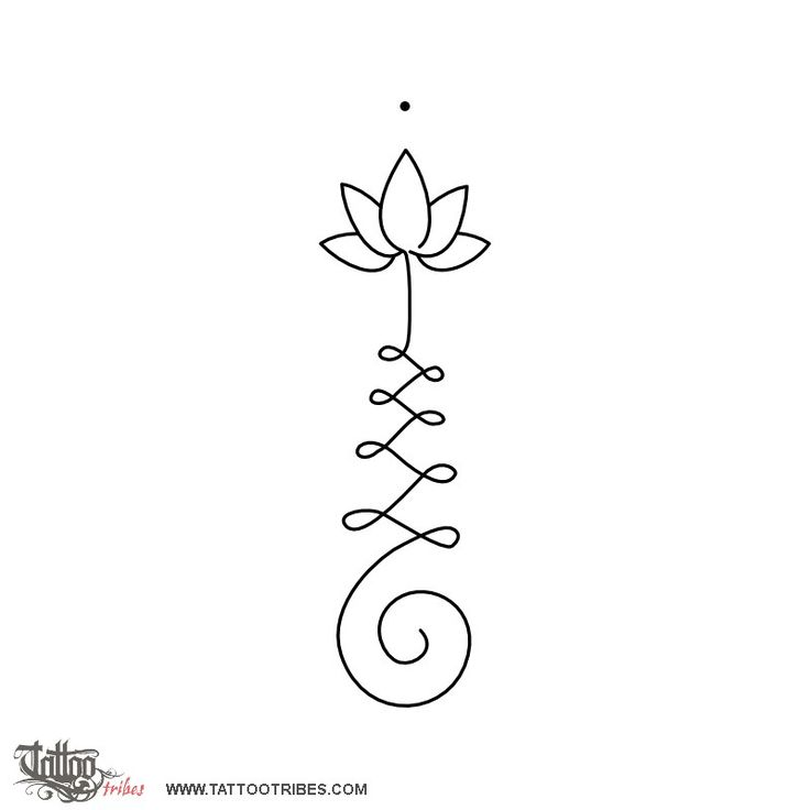 Unalome & lotus. Enlightenment. The Unalome is originally a hindu symbol that graphically recalls Shiva´s third eye and it represents wisdom and the path to perfection. Full description and hi-res here: http://www.tattootribes.com/index.php?newlang=English&idinfo=7591