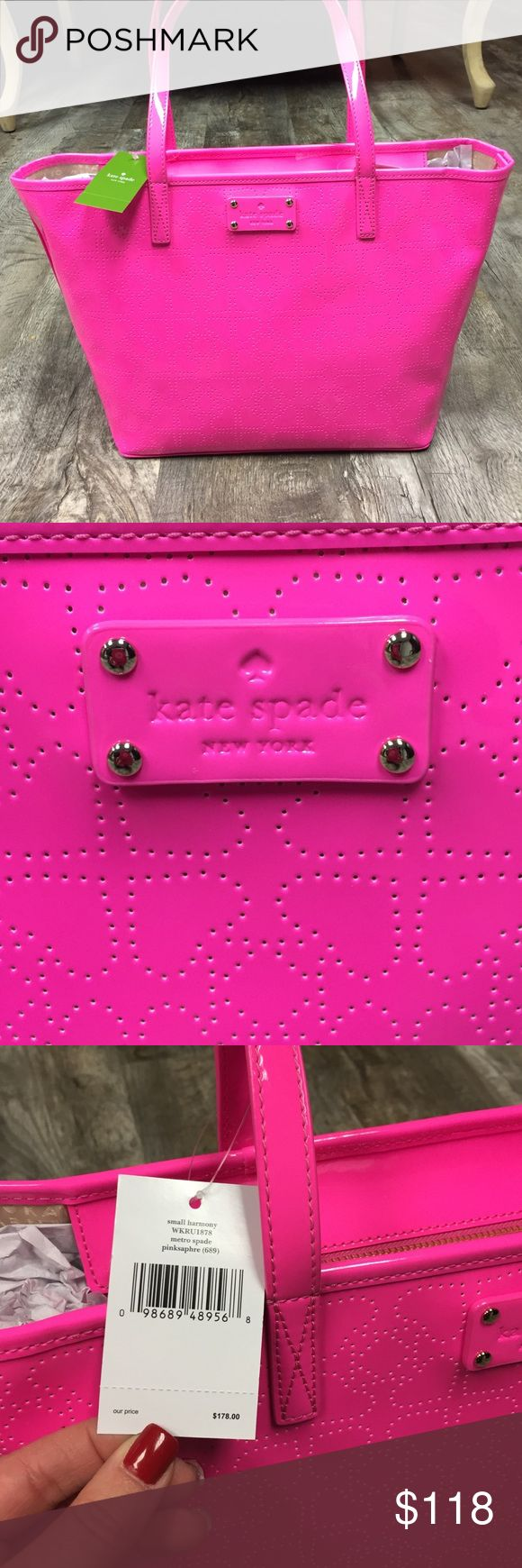 Kate spade hot pink harmony bag nwt handbag purse Kate spade hot pink heat bag nwt handbag purse. This bag is soooooo cute hot pink with patent material with spade design . Larger tore with zipper closure the color is pink sapphire. Made of PVC fabric. Approx. 17″ x 9″ x 6″. Take this high-style kate spade new york Kate Spade New York Metro Spade Small Harmony Tote (Pink Sapphire) home. Brand new with tags retail 178 kate spade Bags