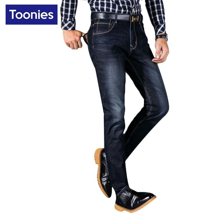 Men's Biker Warm Jeans 2017 Spring Autumn Elastic Casual Slim Denim Blue Sweat Pants for Men Trousers Plus Size Male Pants Jeans