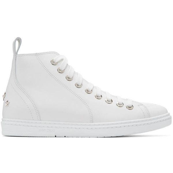 Jimmy Choo White Star Colt High-Top Sneakers ($245) ❤ liked on Polyvore featuring men's fashion, men's shoes, men's sneakers, ultra white, white, mens white sneakers, g star mens shoes, mens white high top sneakers, mens white shoes and mens white high top shoes