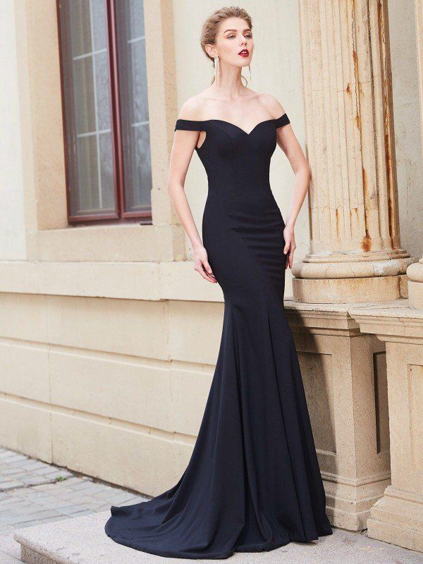 4ca5d458c9d Trumpet Mermaid Off-the-Shoulder Sleeveless Sweep Brush Train Ruffles  Japanese Satin Dresses - Prom Dresses - Hebeos Online
