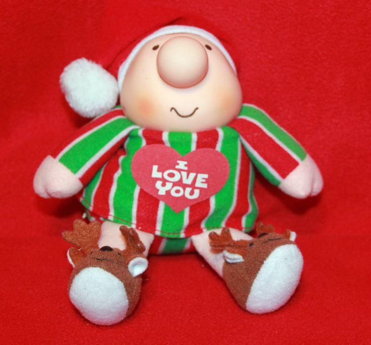 "Vintage Ziggy 7"" I Love You Christmas Santa Hat Reindeer Slippers Plush Gift"
