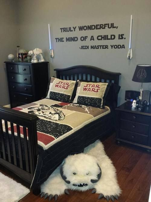 euphoricnerd:  booseecat:  If I ever have a boy, this will be his room.  If I ever has a child and they develop a liking for Star Wars, their room will be like this.