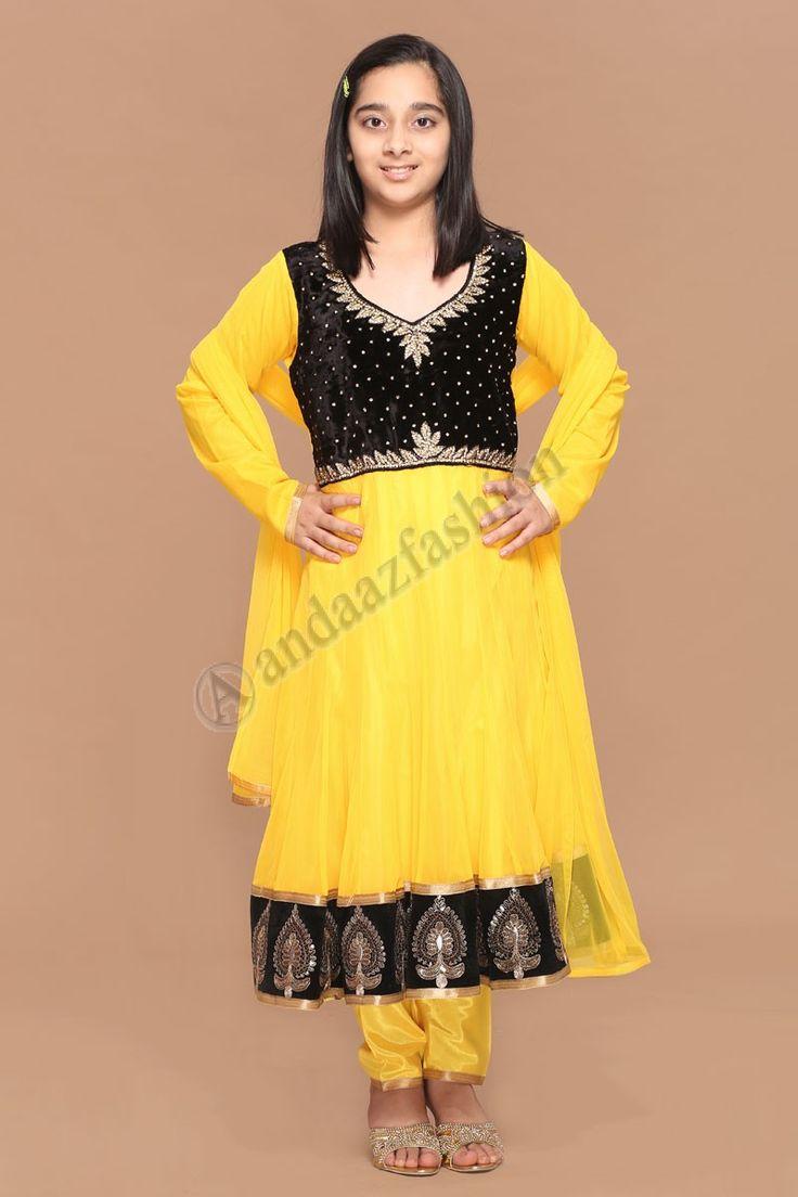 Eid kids Yellow Polyester Anarkali Churidar Suit.  Design No. 3059, Price : RM149.00, Dress Type:Anarkali Churidar Suit , Fabric:Polyester, Colour:Yellow, Embellishments:Velvet yoke with dabka ,  More Details Dress Type:Anarkali Churidar Suit  Fabric:Polyester Colour:  http://www.andaazfashion.com.my/kids/girls/yellow-polyester-anarkali-churidar-suit-3059.html