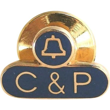 """Vintage Phone Company Pin - 10k Gold C & P Telephone Service Communications Company.  ON SALE NOW at """"Vintage Jewelry Stars"""" shop at http://www.rubylane.com/shop/vintagejewelrystars !!"""
