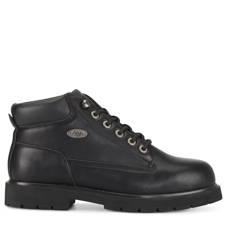 Lugz Men's Drifter Mid Top Steel Toe Wide Work Boots (Black)