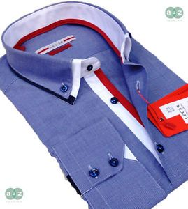 Mens Formal Smart Slim Fit Shirt, Double Collar, Italian Design, Blue, with White and Red. Only at A2Z Fashion - £39.99 - FREE UK DELIVERY - (Ship Worldwide)