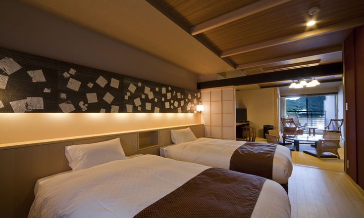 デッキ~広縁~和室~ベッドルーム 視線が抜ける客室 | ホテル・旅館のリノベーションは石井建築事務所・熱海/リフォーム・改修・改築・設備投資
