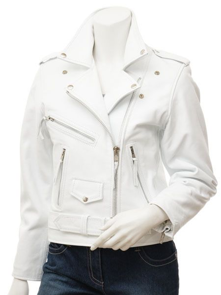 2f1483ad7df Women s White Lambskin Leather Zip Up Moto Biker Jacket Many Details Plus  Size - Coats   Jackets