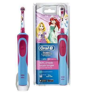 Oral B Oral-B Stages Princess Rechargeable Electric 68 Advantage card points. The Oral-B Disney Princess Stages Power Rechargeable Electric Toothbrush helps kids brush longer and more effectively with a small specifically tailoredhead. FREE Delivery on http://www.MightGet.com/february-2017-1/oral-b-oral-b-stages-princess-rechargeable-electric.asp