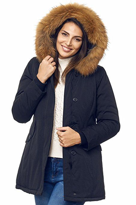 Elara Damen Winterparka | Jacke mit Echt Pelz / Echt Fell Kapuze | Designer Damenjacke | Gefütterte Outdoor Mantel | chunkyrayan
