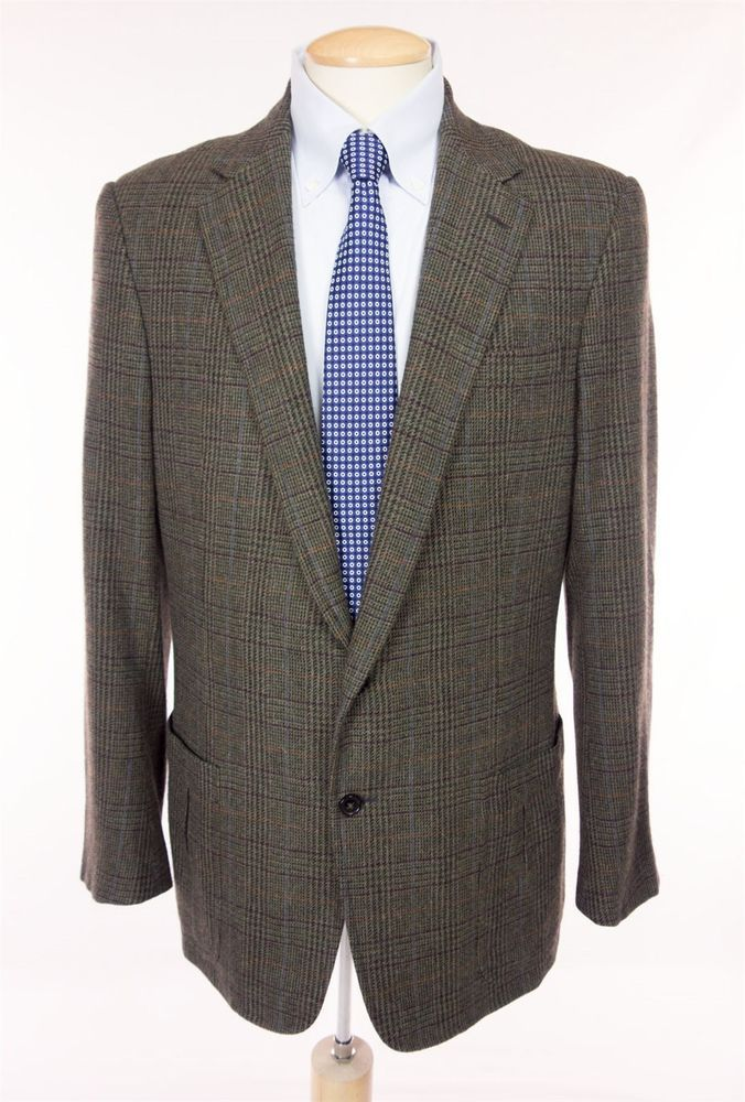 RALPH LAUREN Purple Label Mens Sport Coat Size 44 L Large Wool Angora Blazer #RalphLauren #TwoButton