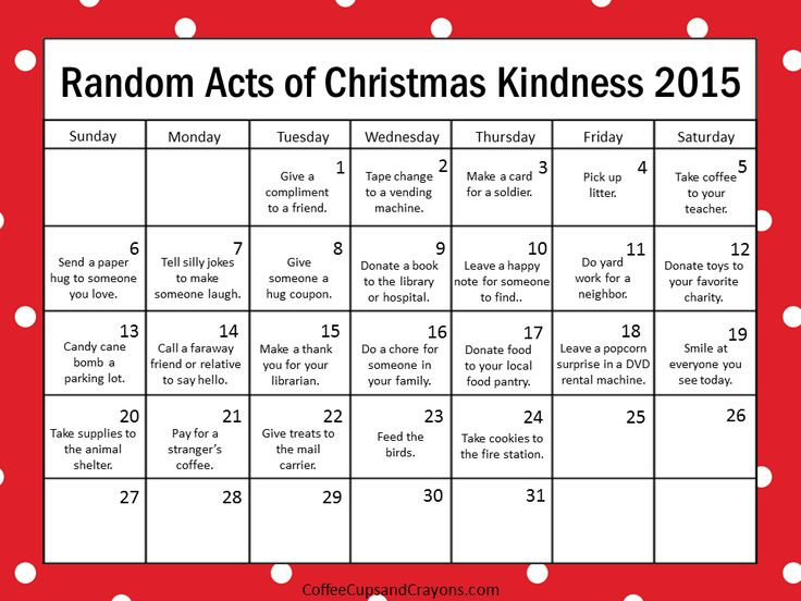 This year try something new--countdown to Christmas with acts of kindness! It is the best way to enjoy and celebrate the holiday season without all the stress!