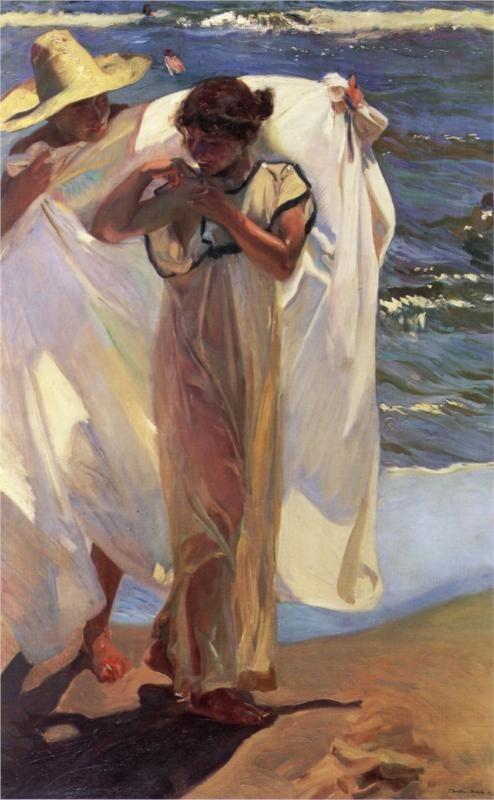 """joaquín sorolla y bastida - """"after the bath"""", 1908, oil on canvas."""