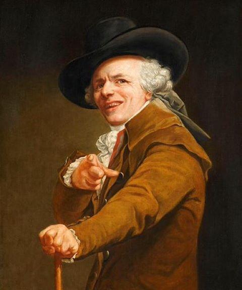 #BonneSemaine Para todos ustedes!  Retrato del artista en el disfraz de burlonamente, pintado alrededor de 1793 por José Ducreux #Louvre #Peinture #Paris #Sourire Tener un #GoodWeek!  Retrato del artista en el camino del bromista, pintado alrededor de 1793 por José Ducreux #Painting #Smile