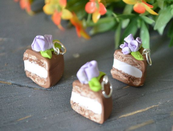 Purple Floral Chocolate Cake Charm, Purple Cake Charm, Cake Slice Charm, Miniature Cake Charm