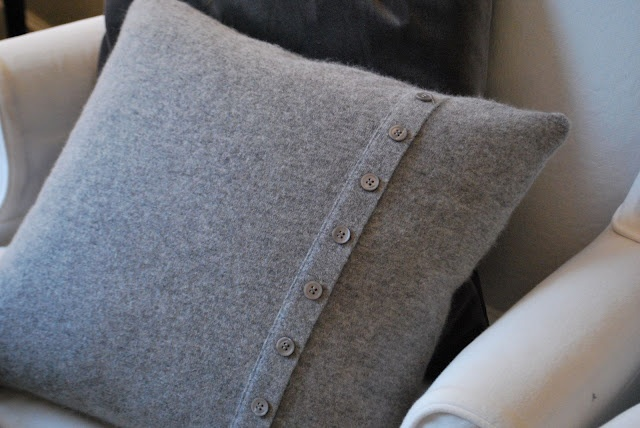 sweater pillow with buttons