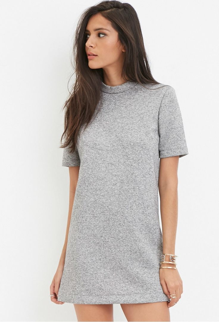 Marled Mock Neck Shift Dress - Shop All - 2000146755 - Forever 21 EU English