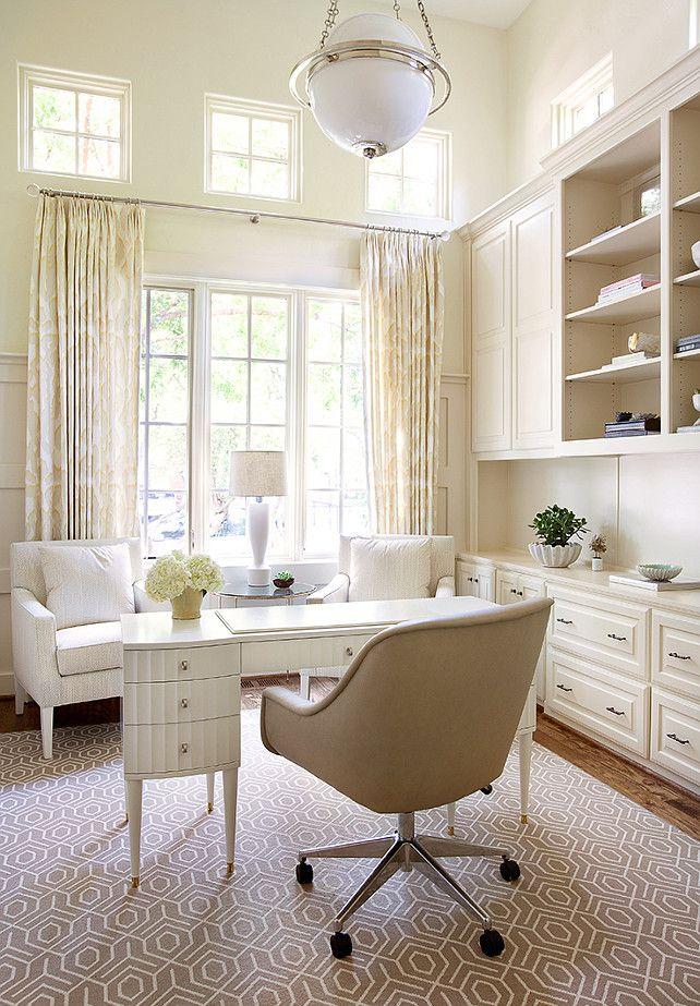 vallone design elegant office. neutral home office with builtin cabinet white desk greige rug and offwhite curtains by tracy hardenburg designs vallone design elegant