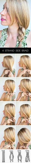 Коса на 4 (четыре) пряди → Фото-урок + схема плетения