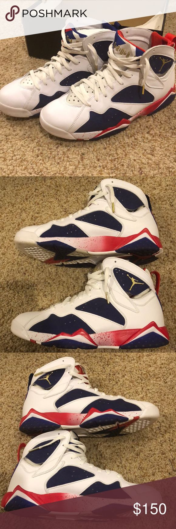 """Jordan 7 """"Olympic"""" Worn 1 Time. Size 10.5. Comes with original box. Great shoe... Feel free to make an offer! Jordan Shoes Sneakers"""