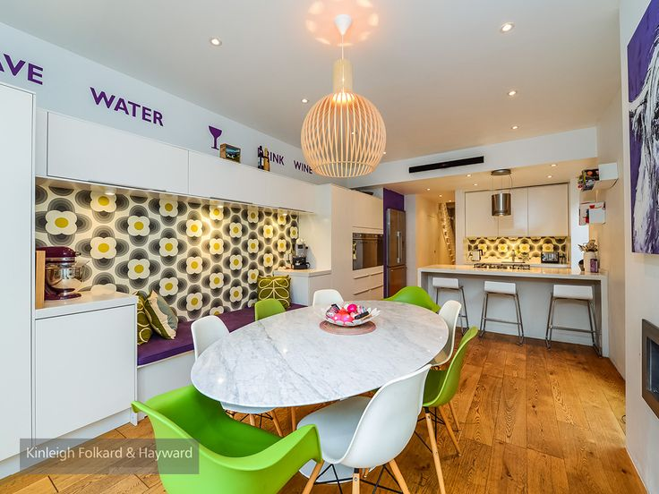 woodenfloor #kitchen #greenchairs #whitechairs #white #kfh