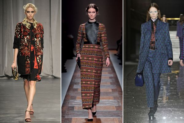 Tapestry Prints — Woven, embroidered, gorgeous tapestry prints showed up on the runway in the form of long dresses, rich coats, and beautiful suit sets. (Fall '12 Runway)