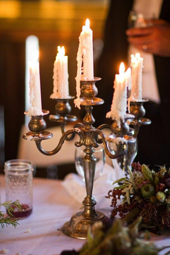 love the melted wax on the silver candlestick.. I have the ...