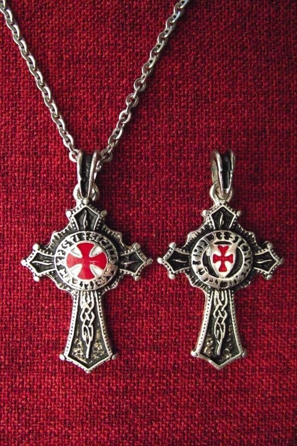Knights Templar Order Knight Cross Medieval SCA Larp SS Plated Pendant Necklace | eBay