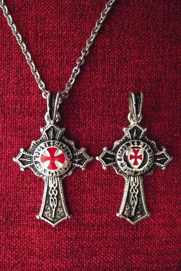 Knights Templar Order Knight Cross Medieval SCA Larp SS Plated Pendant Necklace | eBay