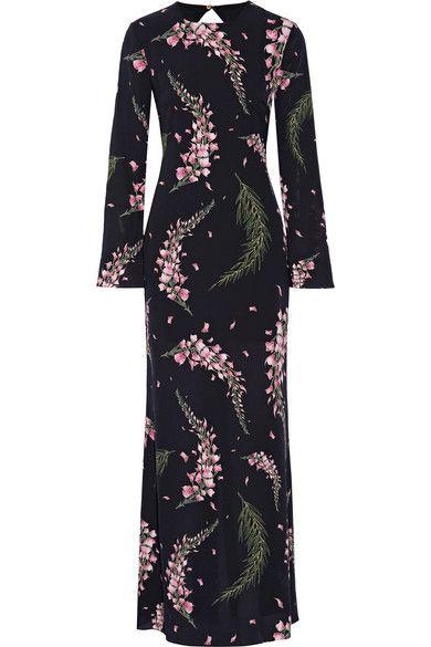 Rachel Zoe - Open-back Floral-print Silk-georgette Gown - Black