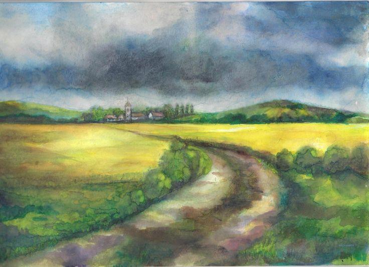 The storm is coming - Jön a vihar - Aquarelle - 21 x 29 cm - By Márta Bolla - Hungary