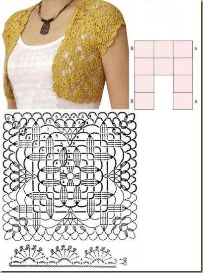 """""""Large Wheat Motif Pattern Bolero - Beautiful simplicity of just 10 squares!"""" #KnittingGuru http://www.pinterest.com/KnittingGuru"""