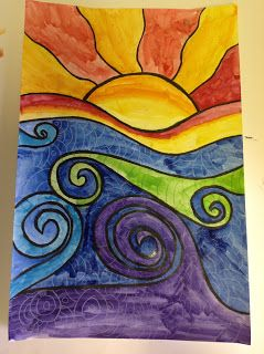 draw abstract sun and waves, paint with watercolor, add colored pencil details