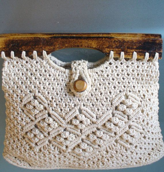 Vintage Macrame Bag With Wooden Beads And Handles