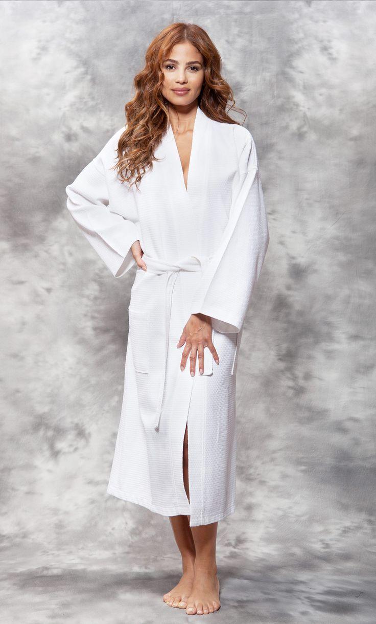 Economy Bathrobes :: Full Length Waffle Robes :: 100% Turkish Cotton White Waffle Kimono Robe - Wholesale bathrobes, Spa robes, Kids robes, Cotton robes, Spa Slippers, Wholesale Towels