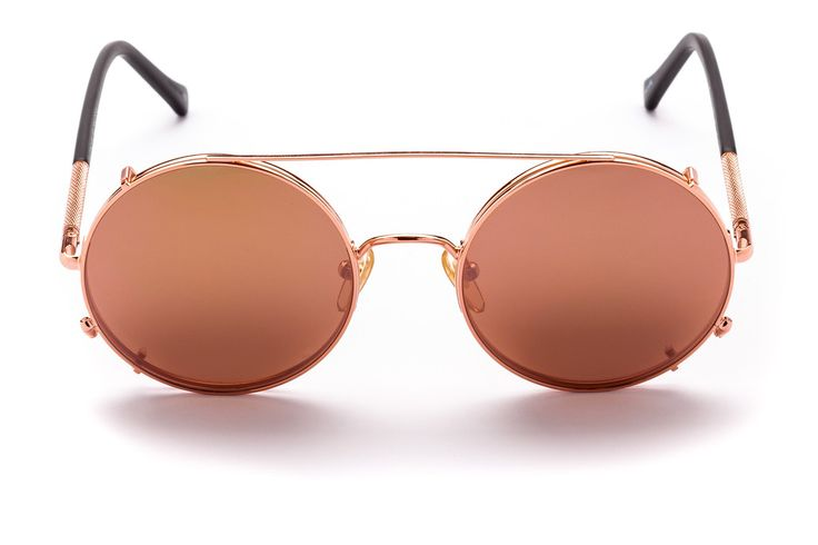 Round Rose gold Frame and  rose gold mirror Lens Valentine Sunglasses