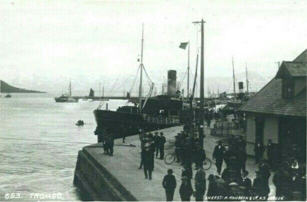 Tromsø havn ca 1900 Utg K.Knudsen, Bergen