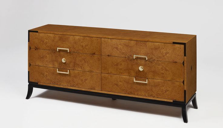 Capri Sideboard | | Exotic myrtle wood, black tulip wood and polished brass details. Drawers upholstered in velvet
