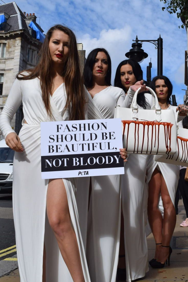 Models Carry Handbags 'Dripping With Blood' At PETA Protest Over What Not To Wear To London Fashion Week
