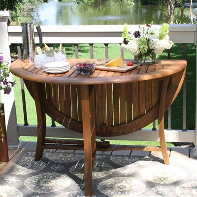 Outdoor Dining Table Ideas outdoor dining table ideas photo 3 Outdoor Interiors 10025 48 In Round Eucalyptus Folding Table