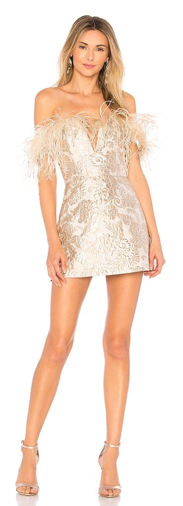 Pop Goes the Party Dress by Alice McCall. Self: 63% poly 27% metallized fabric 10% nylonLining: 100% poly. Dry clean only. Fully lined. Wired V-neckline. Ostrich feather and lurex trim. Metallic brocade detail throughout. Exposed back zipper closure. Neckline to hem measures app... #alicemccall #dresses