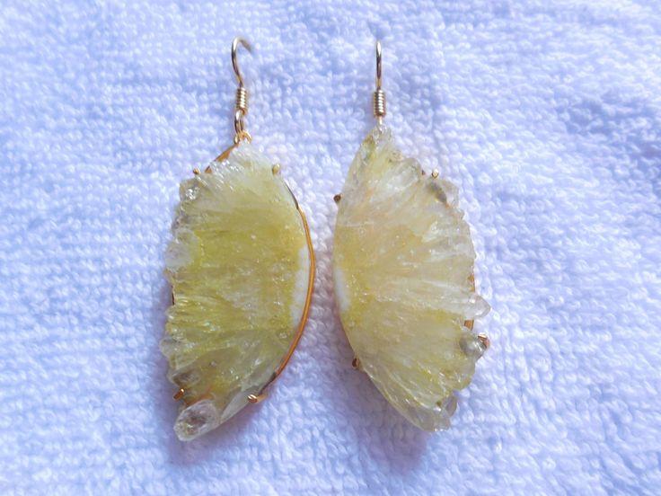 Natural Druzy Earring,Gold Vermeil Ear dangle,Druzy Stalactite Slice  Gemstone Earring,druzy half slice earring,ear jewelry,Boho by InternationalByBeads on Etsy
