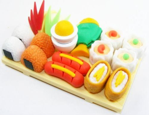 Sushi Little Tokyo Lunch Japanese Puzzle Erasers With Serving Board #kawaii