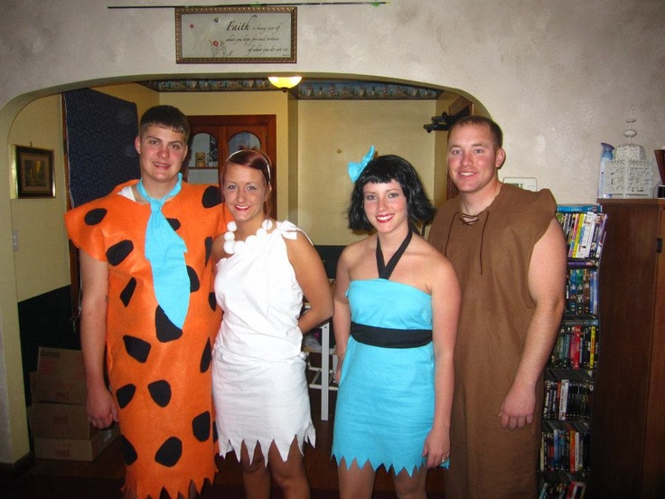 made our Flintstones halloween costumes, cheap and easy!