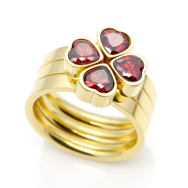 Diseñador clásico 3 Anillo Corazón Ronda CZ Diamond Pavimentada Establece Para Las Mujeres de Compromiso Anillos de Dedo de Oro Color Crystal Joyería de La Boda